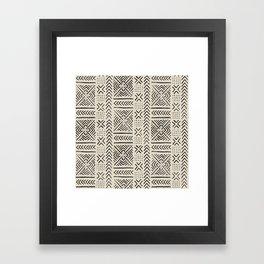 Line Mud Cloth // Bone Framed Art Print
