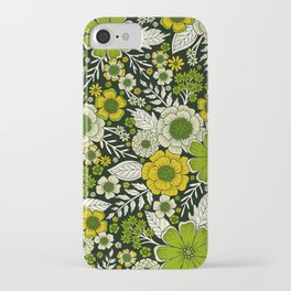 Modern Yellow & Green Floral Pattern iPhone Case