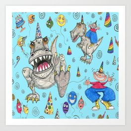 Billy gets a t-rex for his birthday Art Print