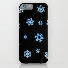 Snowflakes (Blue & White on Black) Slim Case iPhone 6s
