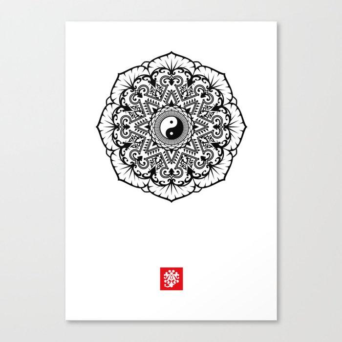 Taoist Lotus Mandala Canvas Print
