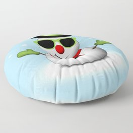 Cool Snowman with Shades and Adorable Smirk Floor Pillow