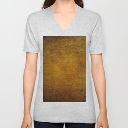 Abstract in Burnt Sienna and Gold Unisex V-Neck