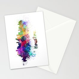 Houston skyline in watercolor Stationery Cards