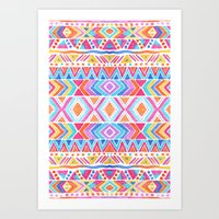 Watercolor tribal in color Art Print
