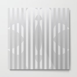 Gray Stripes and White Shape Metal Print