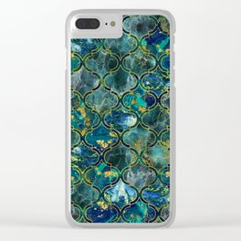 Oriental Pattern with Marble and gold Clear iPhone Case