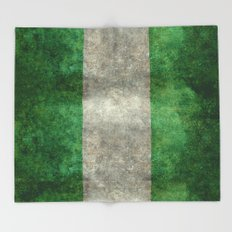 National flag of Nigeria, Vintage textured version Throw Blanket