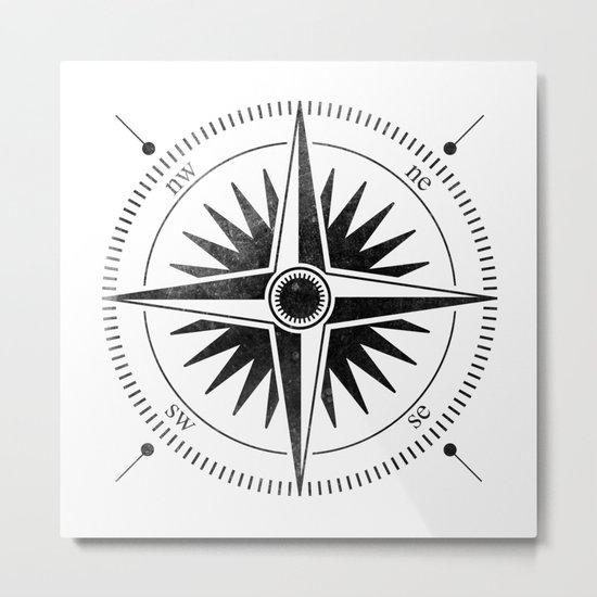 Black Compass on White Metal Print