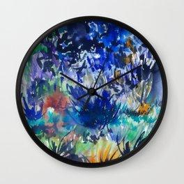 Watercolor wetland landscape Wall Clock