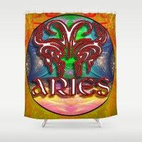 zodiac Shower Curtains featuring Aries Zodiac by CAP Artwork & Design