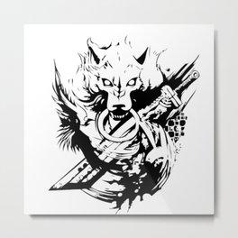 Wolf and Sword Metal Print