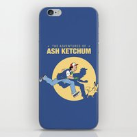 tintin iPhone & iPod Skins featuring THE ADVENTURES OF ASH KETCHUM by Akiwa