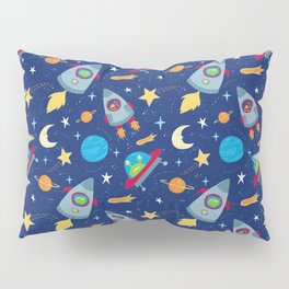 Fun Space Rockets and Aliens Pillow Sham