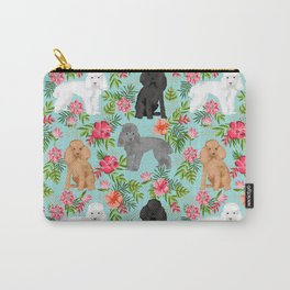 Toy Poodle dog breed pet portraits hawaiian floral flowers dog pattern custom dog lover art Carry-All Pouch