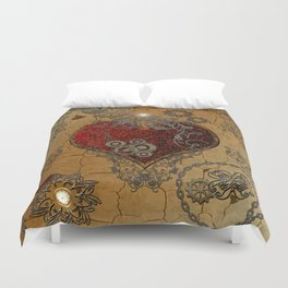 Steampunk, awesome heart  Duvet Cover