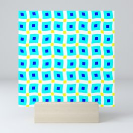 Waves 2 - Aqua & Yellow Windows Mini Art Print