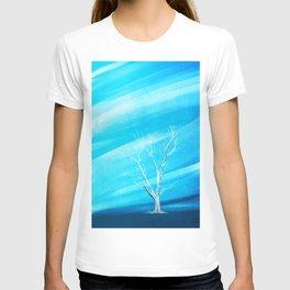 Big white leafless tree blue background T-shirt