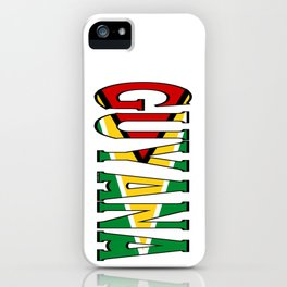 Guyana Font With Guyanese Flag iPhone Case