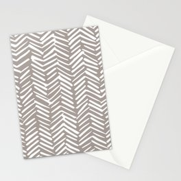 Abstract Herringbone Pattern, Rustic, Light Brown Stationery Cards