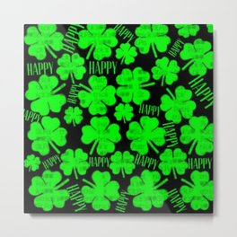 Happy St.Patrick's Day Clovers Metal Print