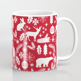 Festive Christmas woodland reindeer moose bear camping red and white minimal pattern for holidays Coffee Mug