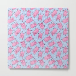 Pattern Project #55 / Piglets (baby blue and pink) Metal Print