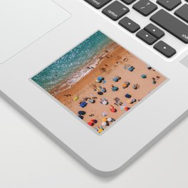 People On Algarve Beach In Portugal, Drone Photography, Aerial Photo, Ocean Wall Art Print Sticker