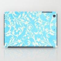 shabby chic iPad Cases featuring Shabby Chic Aqua Damask by Miriam Hahn