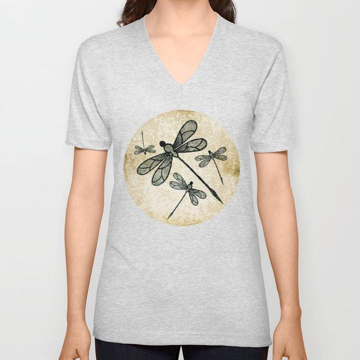 Dragonflies on tan texture Unisex V-Neck