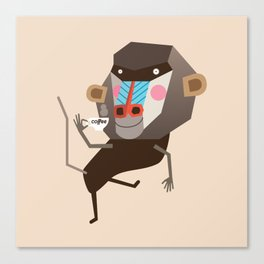 Baboon & Coffee Canvas Print