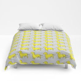Doxie Love - Grey and Yellow Comforters