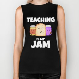 Teaching is my Jam Funny Book lover Teacher Biker Tank