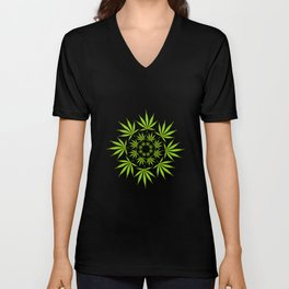 Cannabis Leaf Circle (Black) Unisex V-Neck