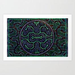 Song to protect the home - Traditional Shipibo Art - Indigenous Ayahuasca Patterns Art Print