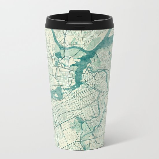 Ottawa Map Blue Vintage Metal Travel Mug