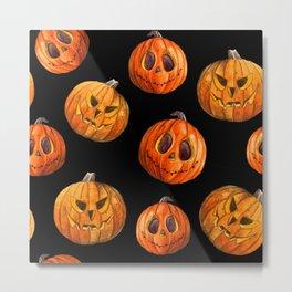 Jack and Jack Halloween pattern in watercolor  Metal Print