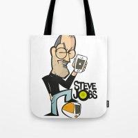 steve jobs Tote Bags featuring STEVE JOBS by Valter Brum