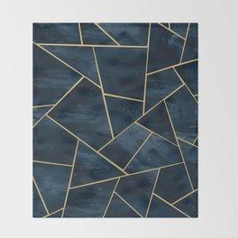Dark Midnight Navy Blue Gold Geometric Glam #1 #geo #decor #art Throw Blanket