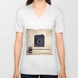 Vintage black camera and Joyce and Dracula books on Map pattern background  Unisex V-Neck