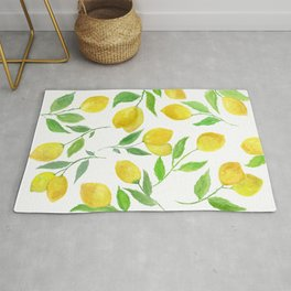 Watercolor Lemons Botanical Pattern Rug