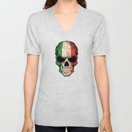 Dark Skull with Flag of Italy Unisex V-Neck
