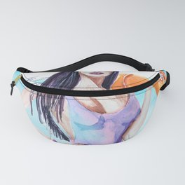 Fashion chick model in a swimsuit. Watercolor sketch stylish girl. Fanny Pack