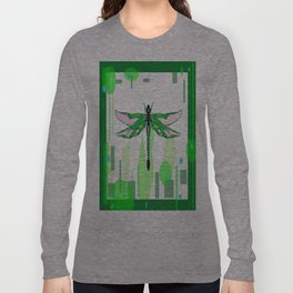 Emerald Green Dragonfly Abstract Long Sleeve T-shirt