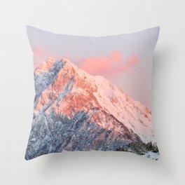 Last sun light on mountain Storžič, Slovenia Throw Pillow