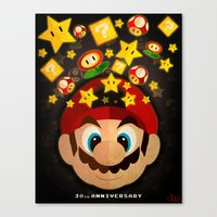 mario bros Canvas Prints featuring Mario Bros 30th Anniversary by JAPdesign