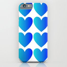 Love Hearts Classic Blue Ombre iPhone Case