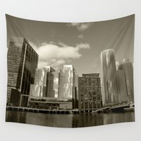 buildings Wall Tapestries featuring City Buildings by BACK to THE ROOTS