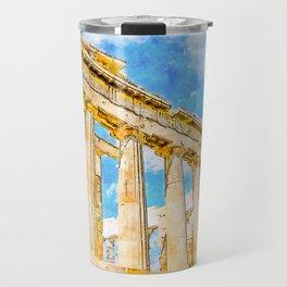 Parthenon Watercolor Digital Painting Travel Mug