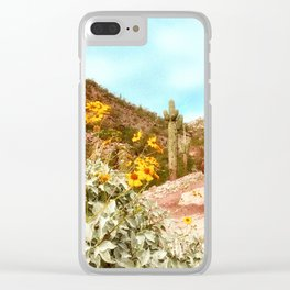 Cactus and blooms Clear iPhone Case